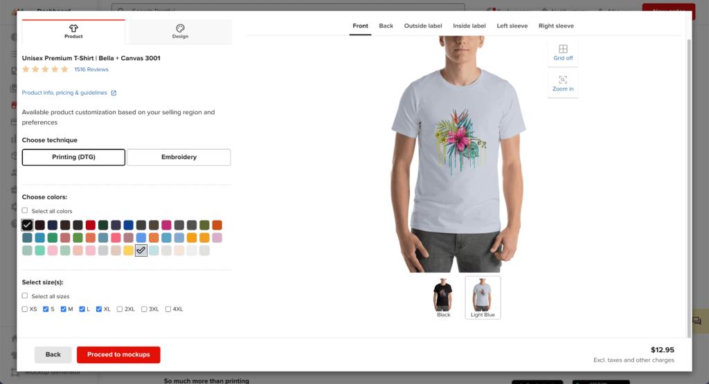 Add design to product in Printful.