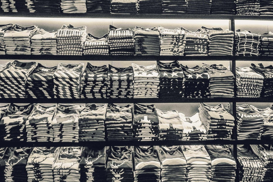 store shelves with t shirts