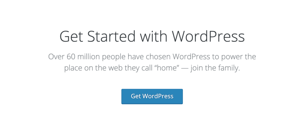 A screenshot from WordPress.org that shows a call to action for downloading wordpress.