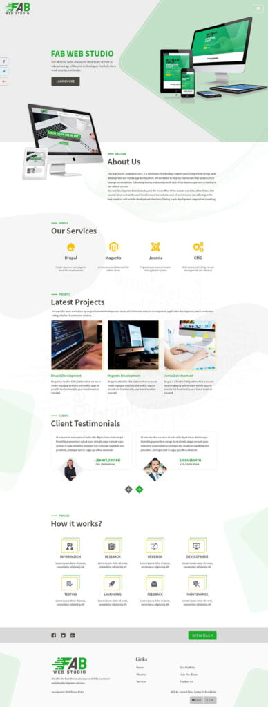 Screenshot of well designed site with lots of white space.