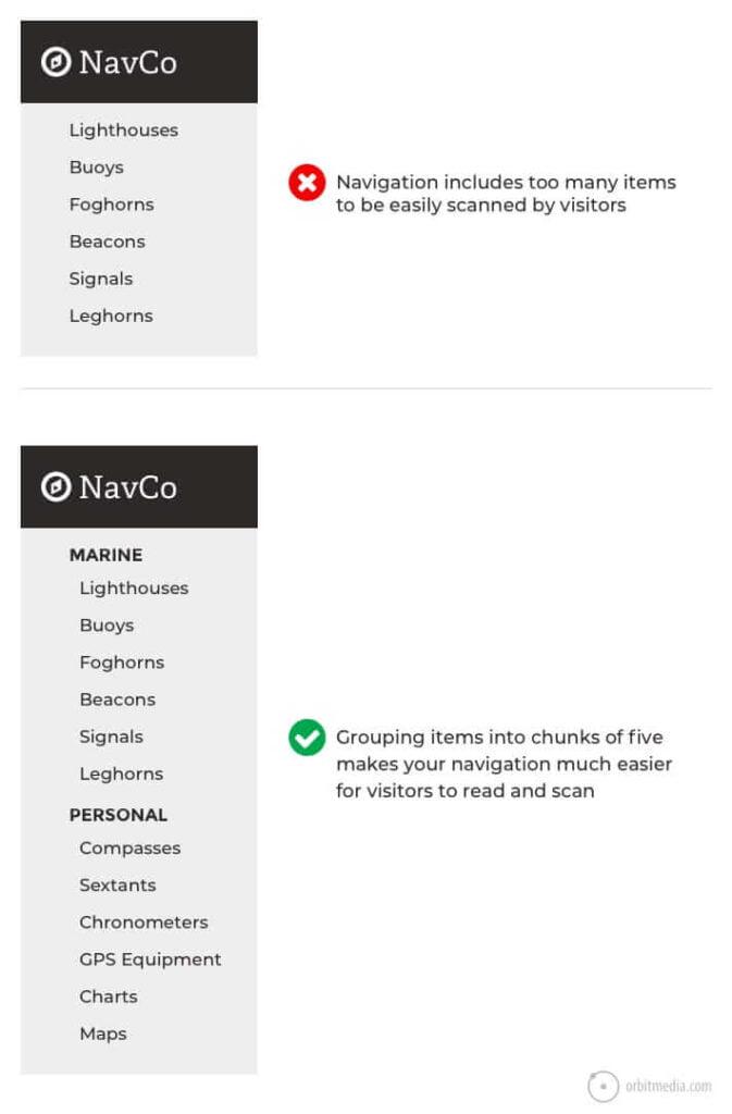 Screenshot of good and bad menu grouping.